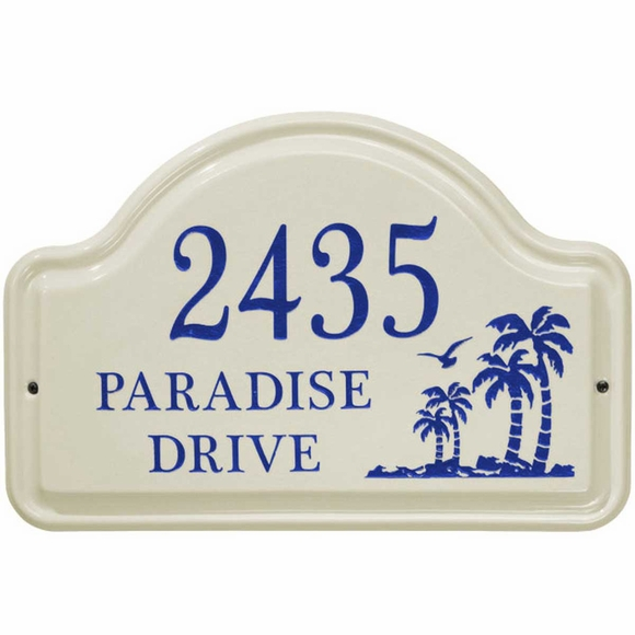 Ceramic Address Plaque with Palm Trees