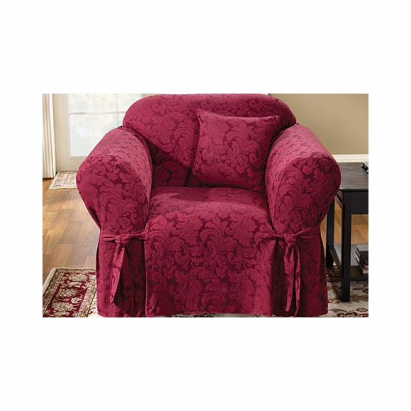 CHAIR Slipcover : Surefit burgundy scroll