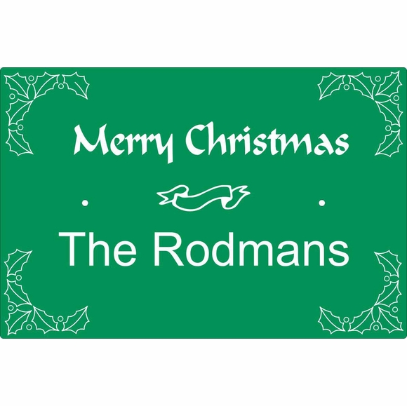 Christmas Greeting House Sign Personalized With Name - Wall Mount or Optional Lawn Mount