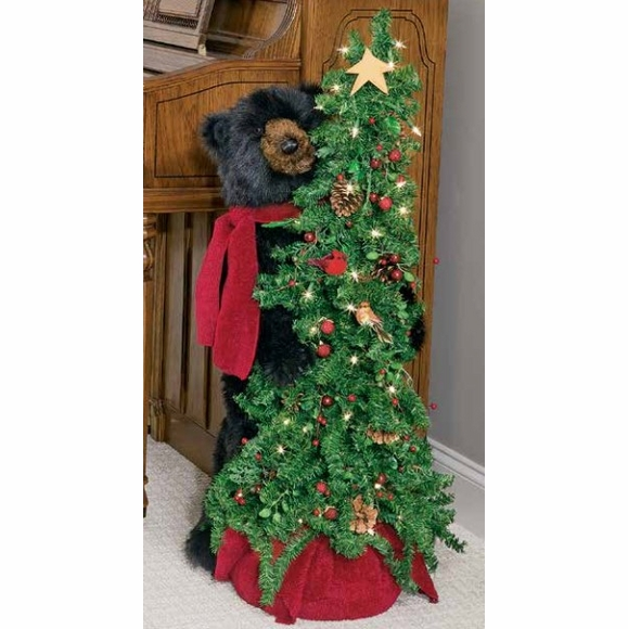 Christmas Tree Bear - Black Bear With Red Scarf and Decorated Tree