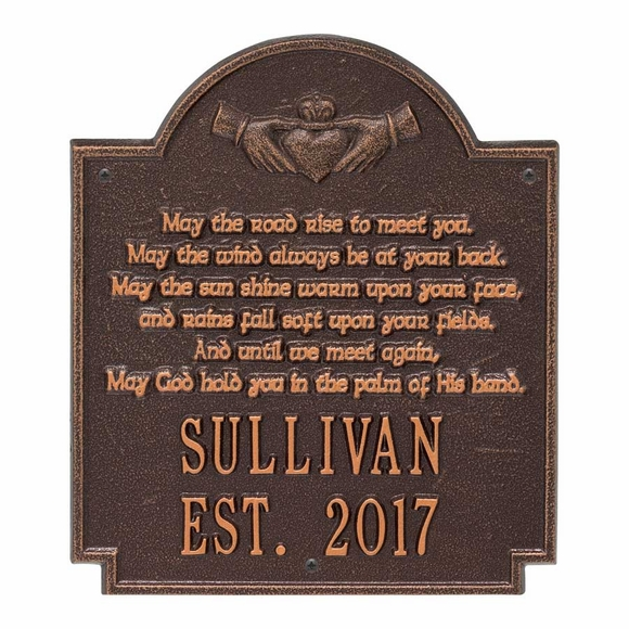 May The Road Rise To Meet You Claddagh Poem Wall Plaque Personalized With Name and Year Established Date