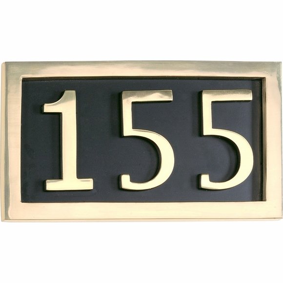 Classic Brass Address Plaque with 3 Large Numbers
