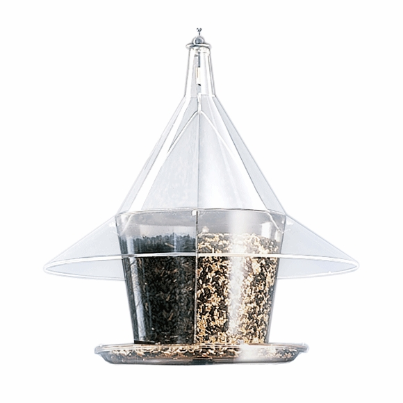 Clear Domed Bird Feeder With Angled Top And 4 Seed Containers