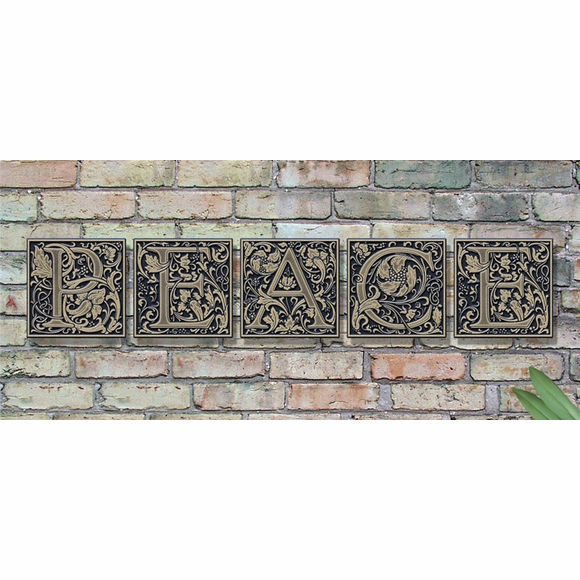 Wall Letter Tiles In Medieval Style Letters With Decorative Floral Accents