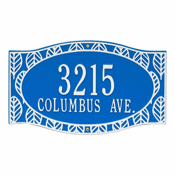 Coastal Style Address Plaque with House Number & Street Name - Frond Leaf Border Address Sign