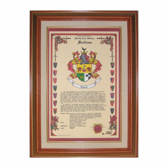 Coat of Arms and Family Name History Framed