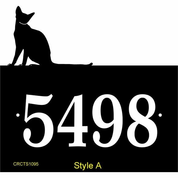Cat Silhouette Address Sign - Personalized House Number Plaque with Sitting or Standing Cat