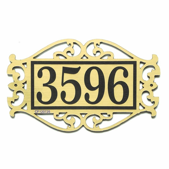 Comfort House Ornate Address Plaque With Scroll Design Border