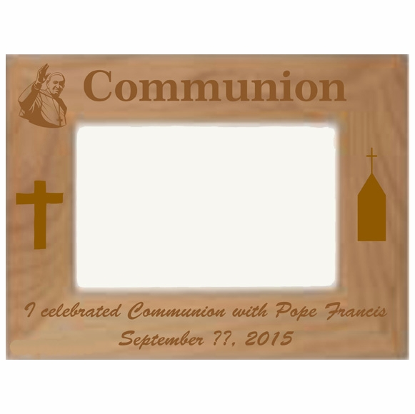 Personalized Custom Engraved Communion With Pope Francis Picture Frame
