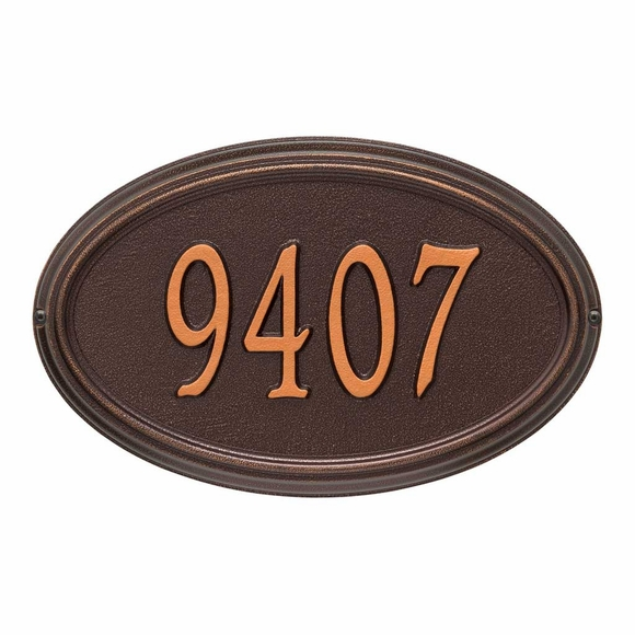 Metal Oval House Number Plaque For Wall Mount or Optional Lawn Stake