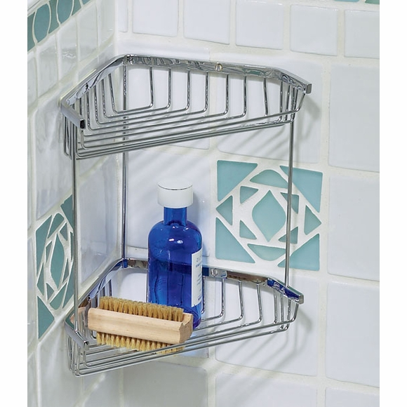 Corner Shower Basket With Two Shelves Wall Mounted
