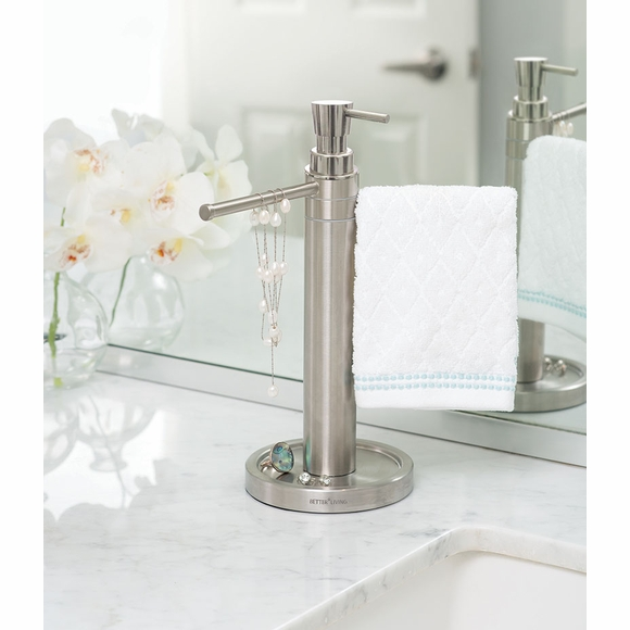 Countertop Towel Valet Soap Dispenser Combo