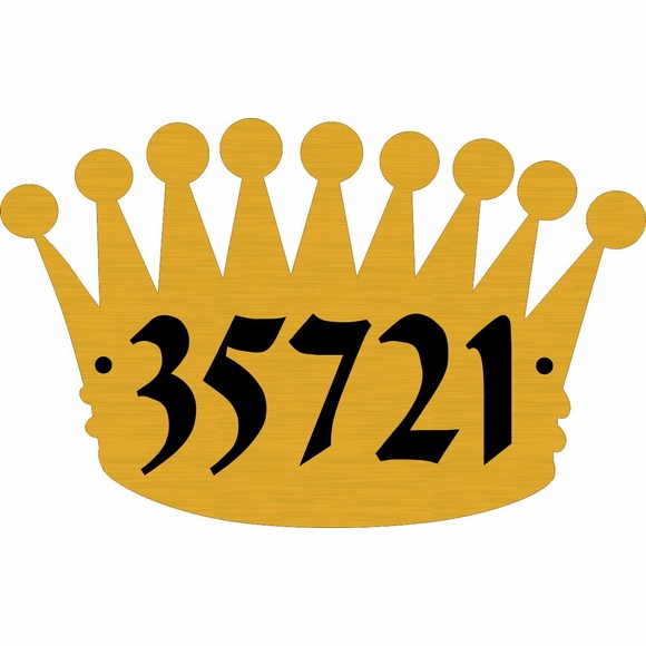 Crown Shape House Address Number Wall Sign