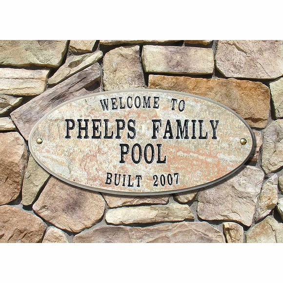 Custom 4 Line Granite Plaque For Welcome, Pool, Home or Business Name, Built or Est., Family Name, etc.