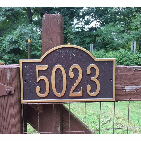 Custom Address Plaque - Metal House Number Sign with Arch Top Finished in Bronze and Gold