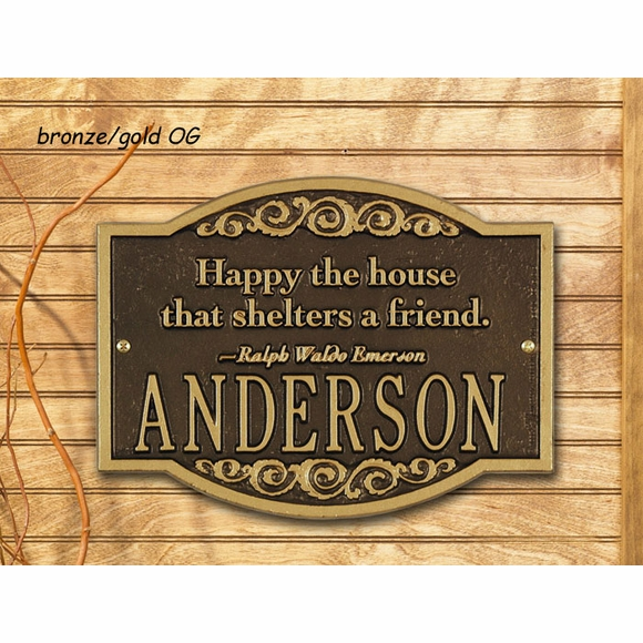 Happy The House That Shelters A Friend Ralph Waldo Emerson Quote Plaque - Personalized Name Sign