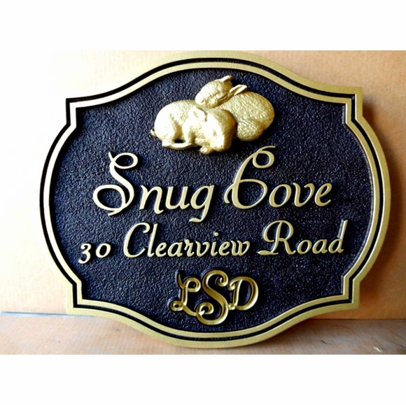 Custom Carved Address Sign with Bunnies, Raised Letter Plaque With House or Family Name and Monogram