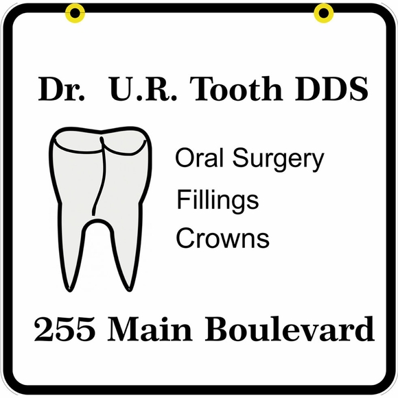 Custom Dental Office Sign - Two Sided Hanging Dentist Name and Address Plaque