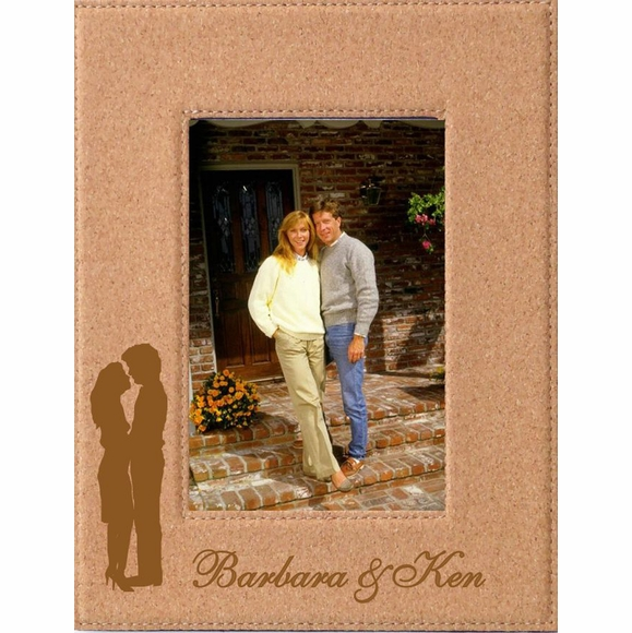 Valentine's Day Gift: Custom Engraved Cork Picture Frame With Romantic Couple