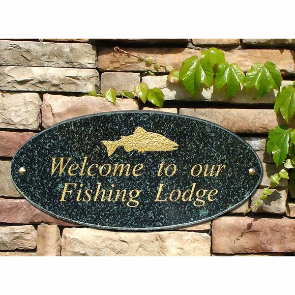Custom Granite Plaque With Fish For Address, Welcome, Lodge, Etc. - Salmon, Marlin, Shark, or Whale