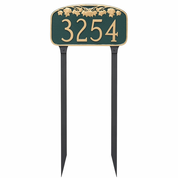 Custom House Number Sign Lawn Mounted With Maple Leaf Decoration On Top