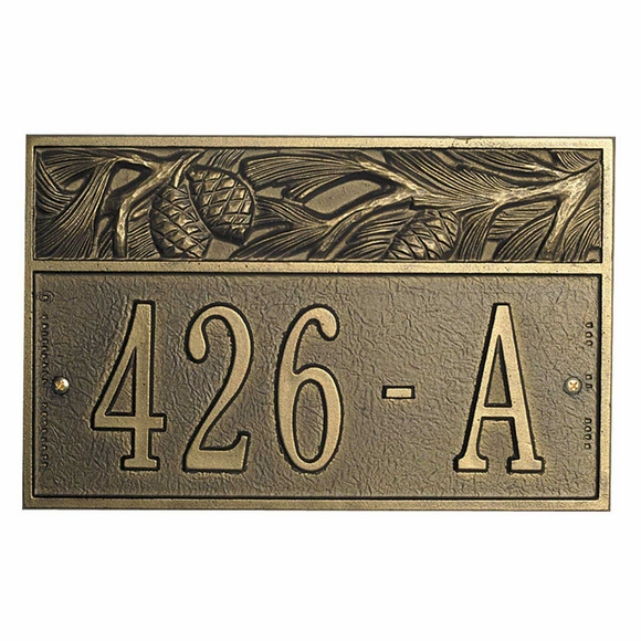 Custom House Number Sign Pine Cone Address Sign