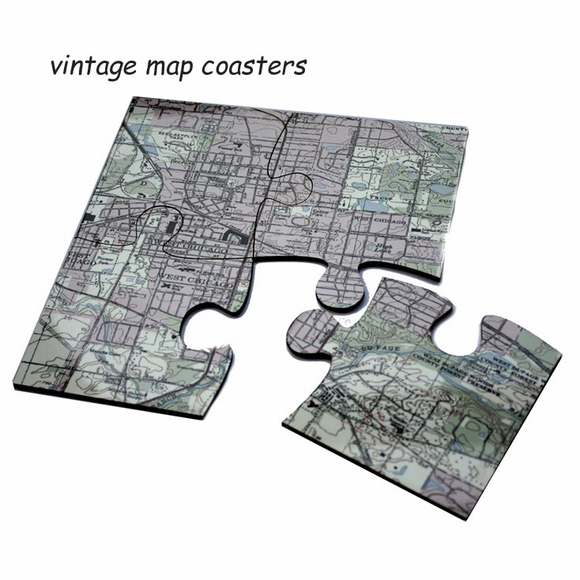 Custom Jigsaw Map Coasters