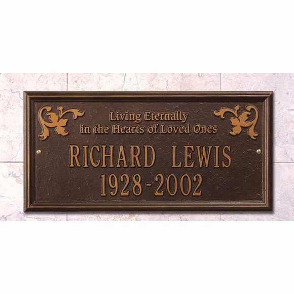 Living Eternally In The Hearts Of Loved Ones Memorial Marker Wall Plaque