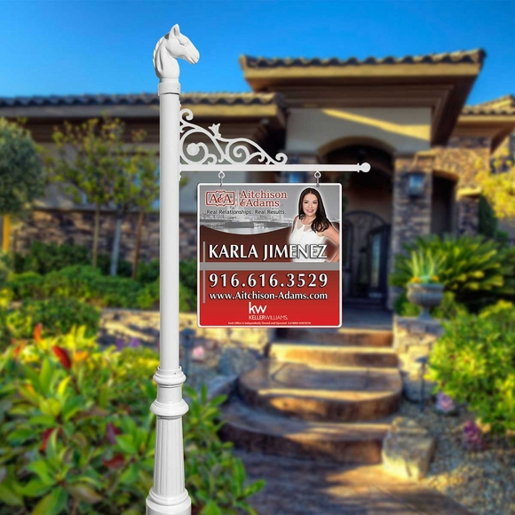 Hanging Real Estate Sign System With Post, Base, Finial, and Bracket
