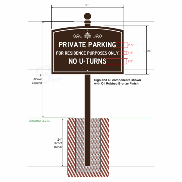 Custom Sign For Parking, Entrance, Street Address, or Community Name With Mounting Pole