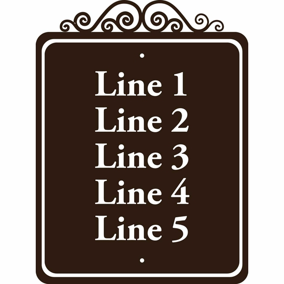 Custom Sign with 5 Lines And Scrollwork Accent - For Multi Unit Address Numbers, Room Numbers, Building Numbers, Text, etc.