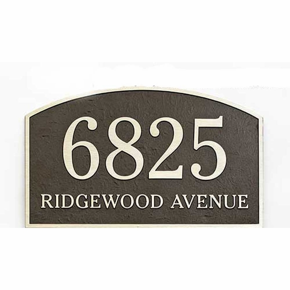 Custom Arch Address Plaque With Leatherette Textured Background and Concealed Holes For Wall Stud Mount or Lawn Mount