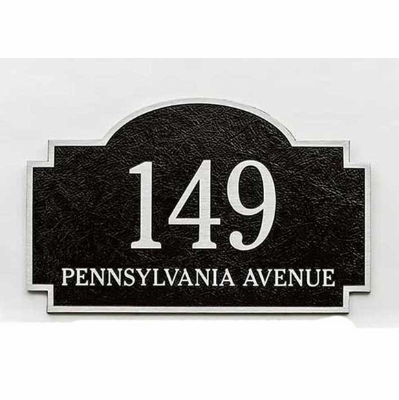 Custom Cast Aluminum Two Line Arch Address Plaque With Wall Stud Mount or Lawn Mount