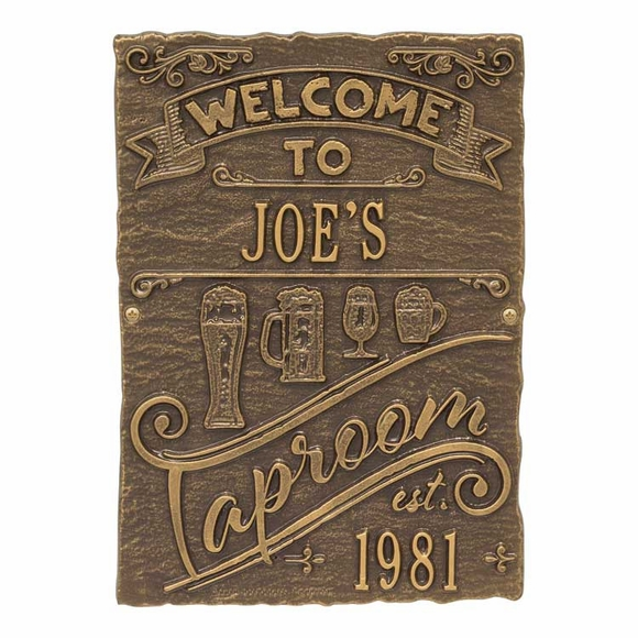 Welcome To Taproom Established Year Plaque - Custom Metal Sign With Name And Est Date