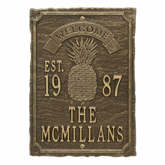 Welcome Year Established Date Plaque with Pineapple - Personalized With Name
