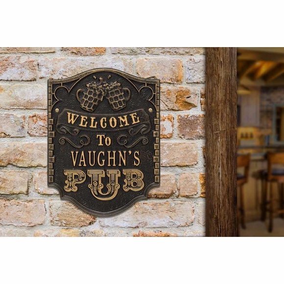Custom Welcome to Pub Plaque Personalized With Name