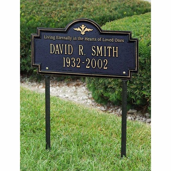 Personalized Living Eternally In The Hearts Of Loved Ones Decorative Memorial Marker Lawn Plaque With Name and Date