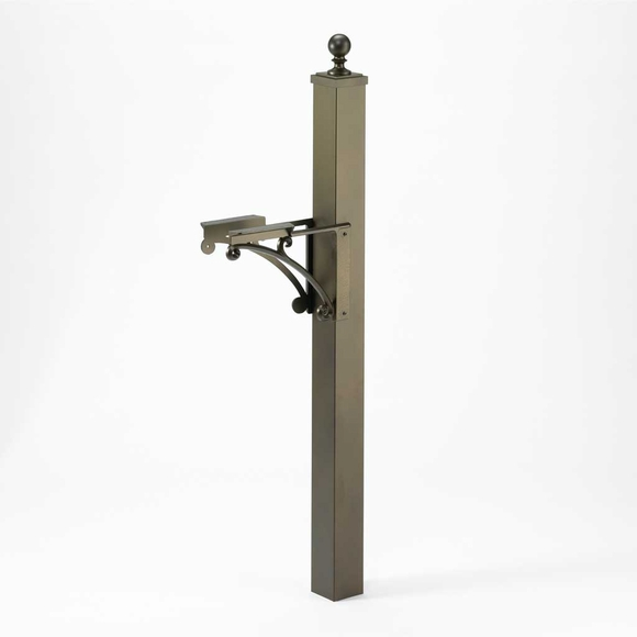 Metal Mailbox Post with Bracket and Ball Finial