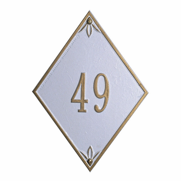 Diamond Shape House Number Plaque - Metal Address Sign - Choose Your Color