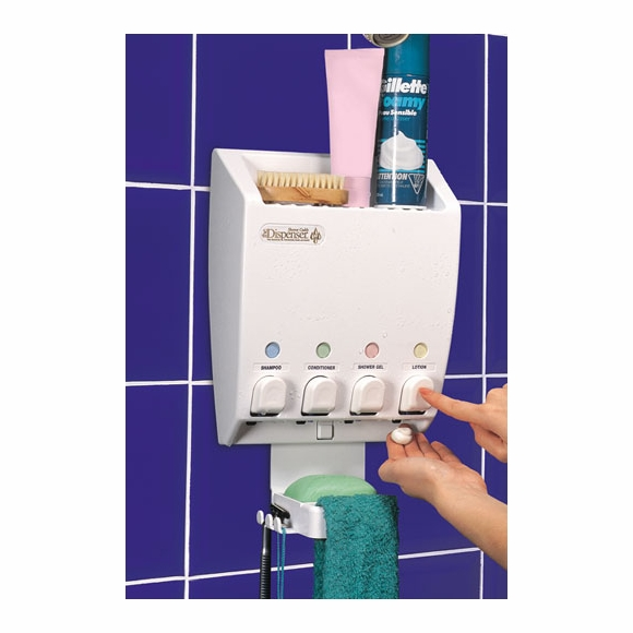 Dispenser Shower Caddy for Shampoo And Conditioner - 4 Pumps, Soap Dish, And Top Shelf