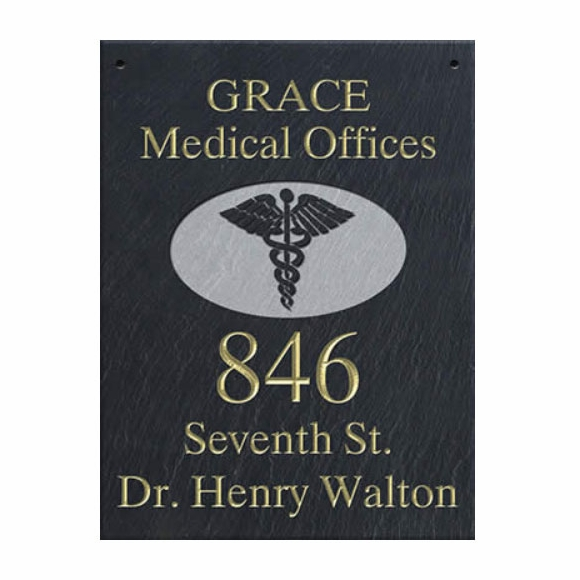 Doctor's Office Hanging Slate Address Sign