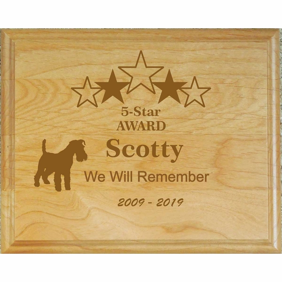 Personalized Engraved Wood Dog Memorial Plaque for a 5 Star Dog
