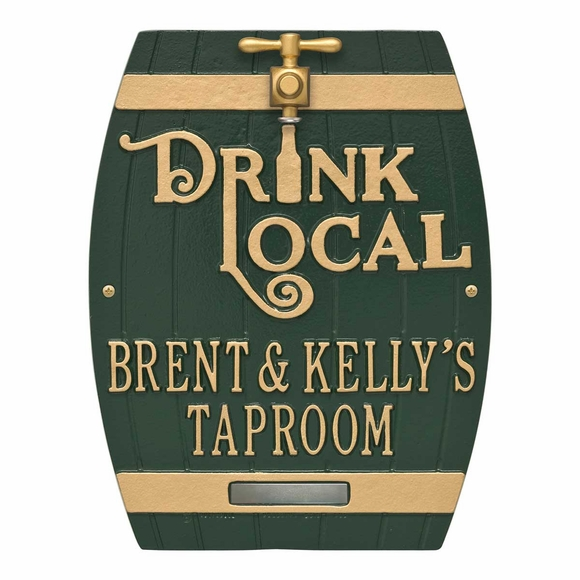 Drink Local Beer Barrel Plaque With Faux Tap Personalized With Your Name or Custom Wording