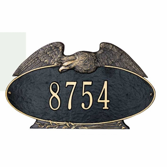 Oval Address Sign With Eagle On Top - For Wall or Lawn Mount - Select Your Size and Color