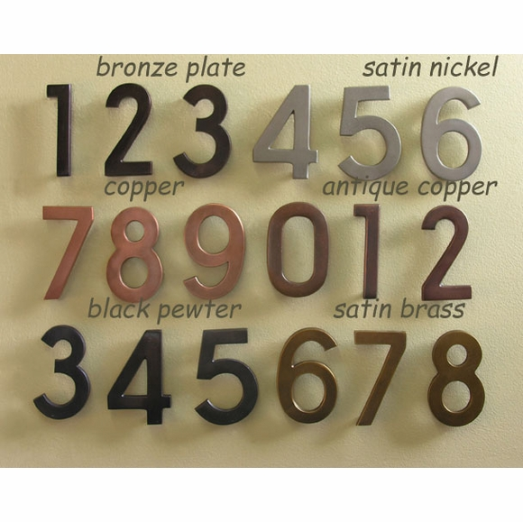 Ecco Mailbox House Numbers - Choose Copper, Bronze, Satin Nickel, Satin Brass, Black Pewter