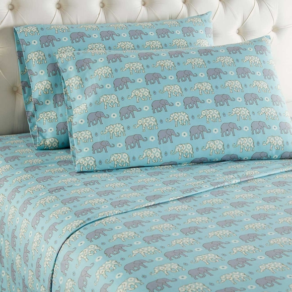 Elephant Print Flannel Sheet Set