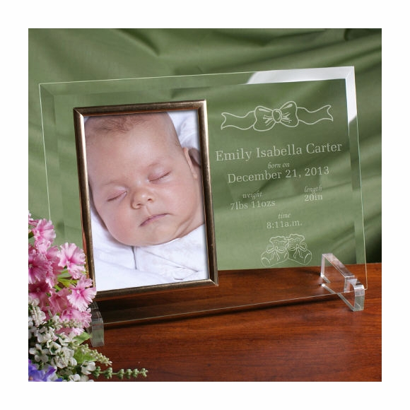 Engraved Birth Announcement Picture Frame