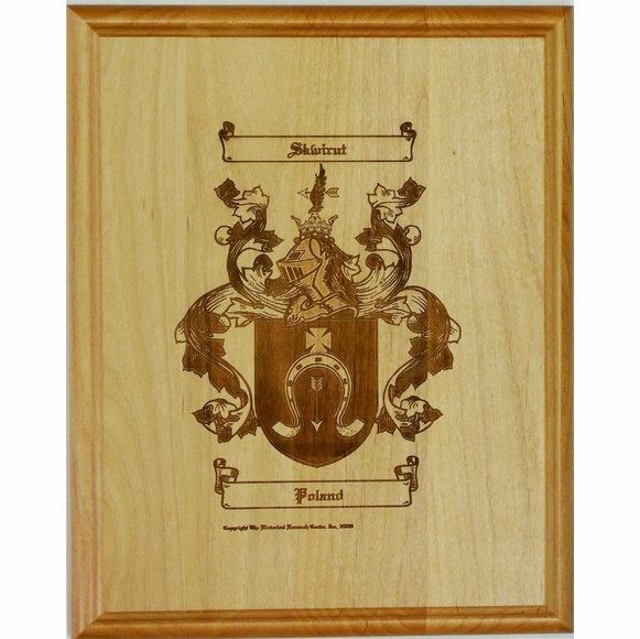 Engraved Coat of Arms Plaque - Family Name Crest