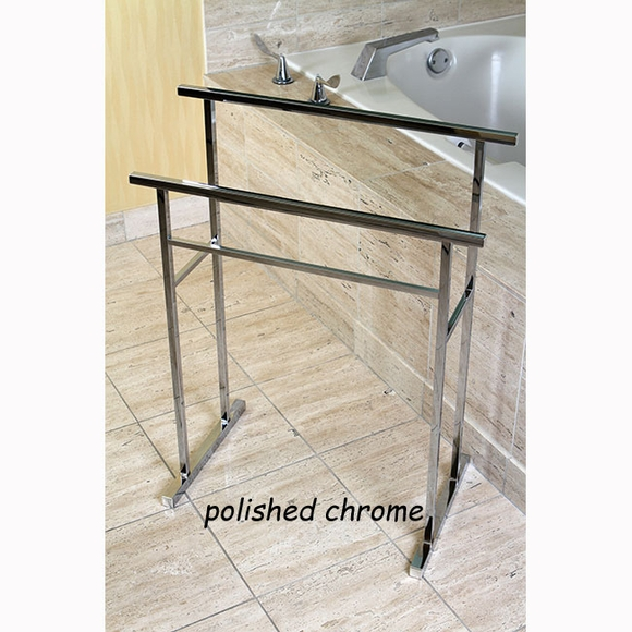 Euro Style Portable Towel Stand - Contemporary Freestanding Double Towel Bar