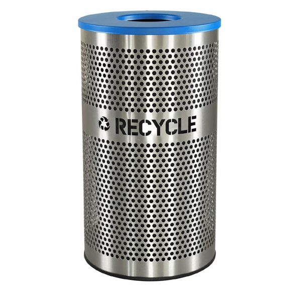Stainless Steel Recycling Bin - Recycle Receptacle For Indoor Use, With Cut Out Letters